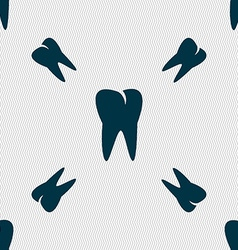 Tooth icon seamless pattern with geometric texture vector