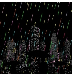 Rain in the city background vector