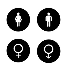Wc entrance black icons set vector