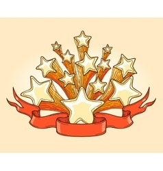 Dooddle gold stars and red banner vector