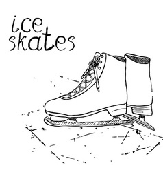 Hand drawn sketch ice skates drawing sport doodle vector
