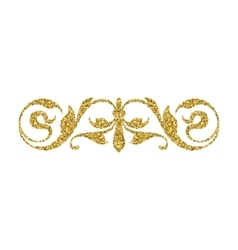 Gold glitter swirl vintage ornament vector