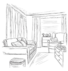 Modern interior room sketch furniture elements vector