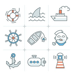 Nautical icons collection vector