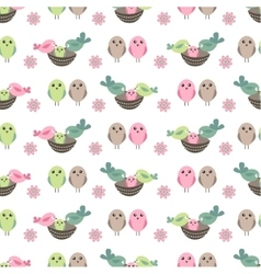 Seamless pretty pattern with stylized birds and vector