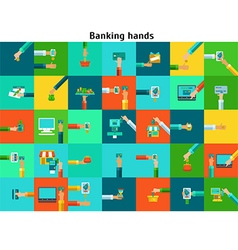 Set of banking hands vector