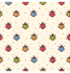 Seamless childish ladybugs pattern vector