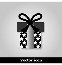 Gift icon on grey background vector