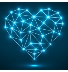 Abstract heart with glowing dots and lines vector image vector image