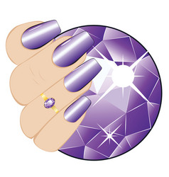 amethyst ring on a hand vector image vector image