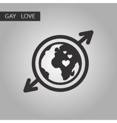 black and white style icon gays Earth symbol vector image vector image