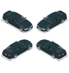 Black Sedan Car Flat isometric high quality city vector image vector image
