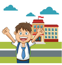 Boy student happy funny yard building school vector