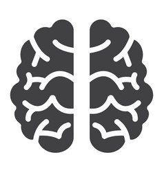 brain solid icon brainstorm and idea vector image vector image