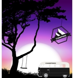 Cartoon Minibus in Nature a Tree Silhouette vector image vector image