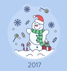 Christmas snowman on the background vector