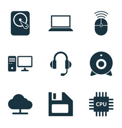 Computer icons set collection of earphone vector