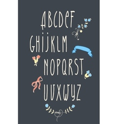 decorative alphabet and floral elements vector image