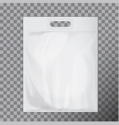 empty white blank plastic bag mock up isolated vector image vector image