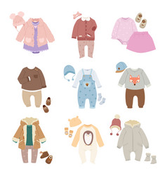 Funny baby kids clothes icon set vector