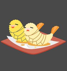Funny cartoon japanese food vector
