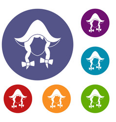girl dutch icons set vector image vector image