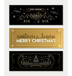 Gold line art christmas banner template set vector