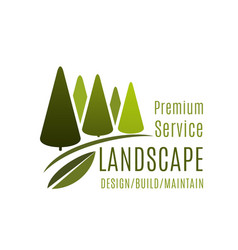 green landscape design service trees icon vector image vector image