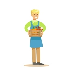 Man With Crate Of Fresh Vegetables Farmer Working vector image