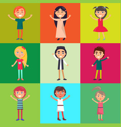 Multinational kids isolated on colorful background vector
