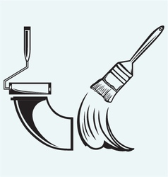 Paint brush and paint roller vector image vector image