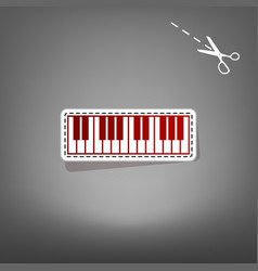 Piano keyboard sign red icon with for vector