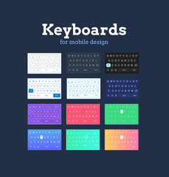 qwerty mobile keyboards in different colors and vector image vector image