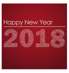 Red happy new year 2018 from little snowflakes vector