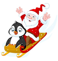Santa Claus and Penguin vector image