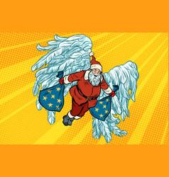 Santa claus angel wings christmas gifts vector