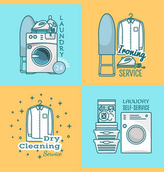 set of laundry labels logos in modern vector image