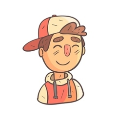 Smiling boy in cap and college jacket hand drawn vector