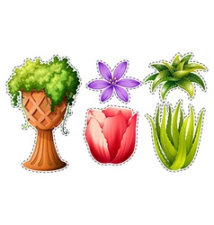 Sticker set with flowers and leaves vector image vector image