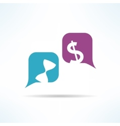 time is money conversation with speech vector image