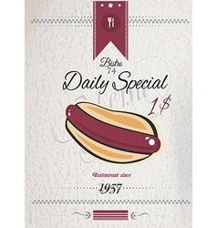 Vintage hot dog poster template for bistro vector