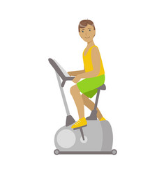 Young brunette male is working out in a cycling vector