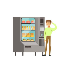 Young man standing next to automatic vending vector