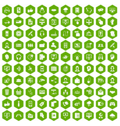 100 contact us icons hexagon green vector