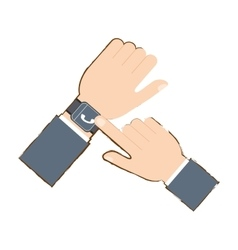 Hand with smart watch trendy wearable technology vector