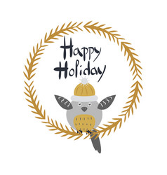 happy holiday card with owl bird in round frame vector image