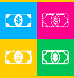 bank note dollar sign four styles of icon on four vector image
