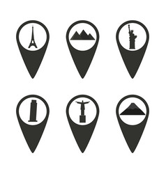 Set of dark sights location icons vector