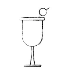 Cokctail cup drink olive liquor icon vector