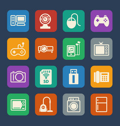 Home electronic device icon flat icons set for vector